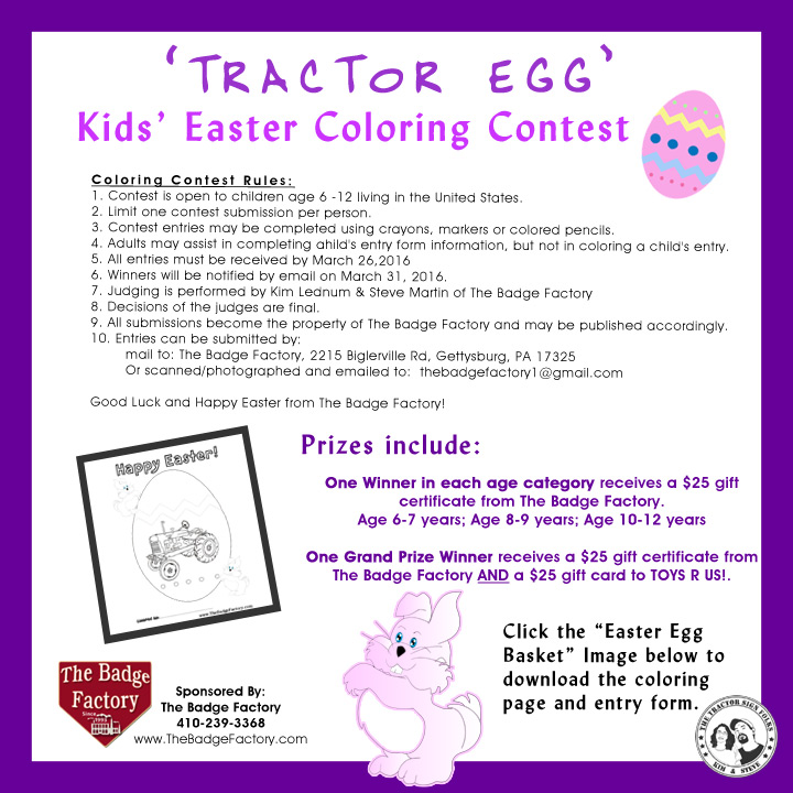 Kid\'s Easter Coloring Contest 2016 | The Badge Factory