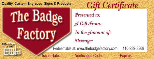 Badge Factory Gift Certificate